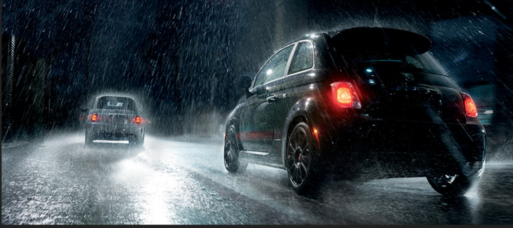 Fiat Driving Home For Christmas Snow Night